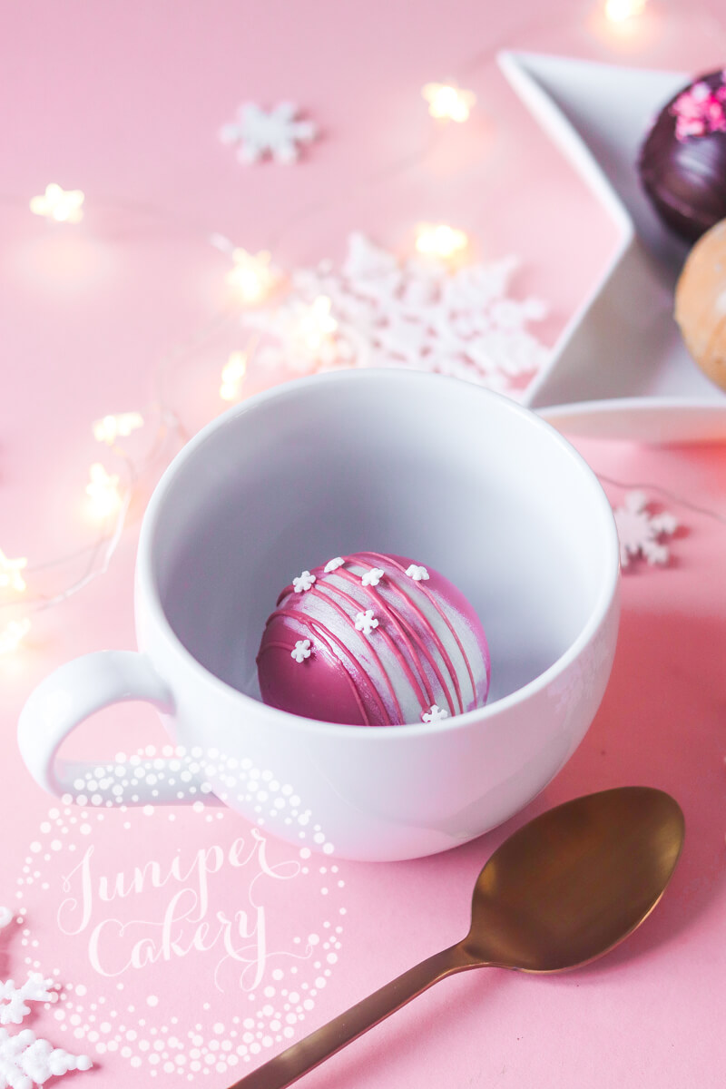 Ruby hot chocolate bombe by Juniper Cakery