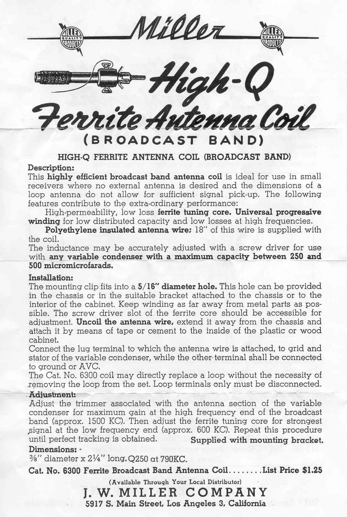 Vintage Data Sheets For Coils Transformers And Other