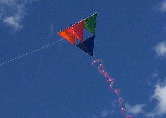 The D-Stix tetrahedral kite in flight