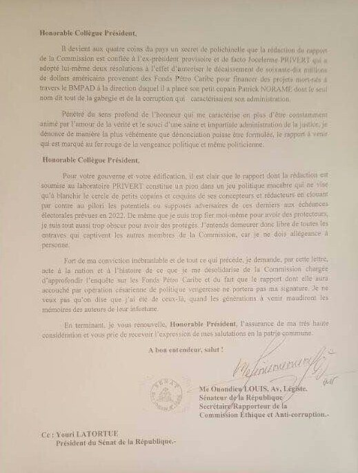 Enquête Pétro Caribe, le Sénateur Louis Onondieu dénonce 32