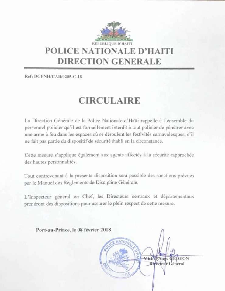 Haïti-Carnaval: Le port d'armes à feu interdit, même pour les policiers 31