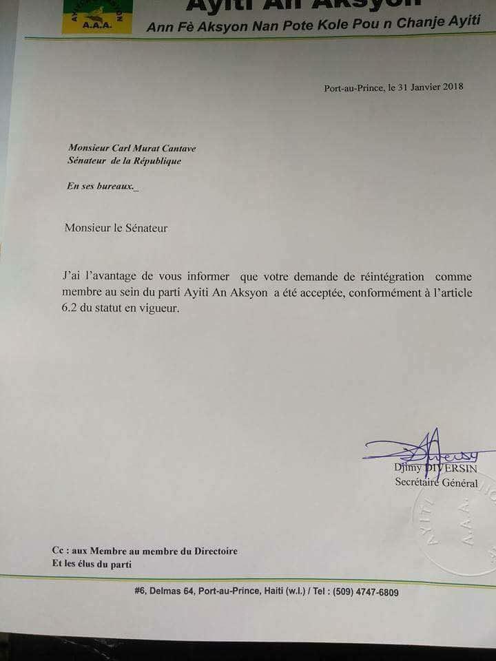 CarlMurat Cantave réintègre officiellement le parti Ayiti An Aksyon 33