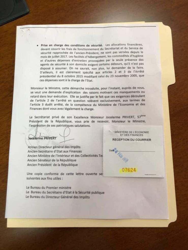 Frais de fonctionnement non-versés et véhicule non-enregistré : Jocelerme Privert exige des explications  du ministre de l'économie et des finances. 34