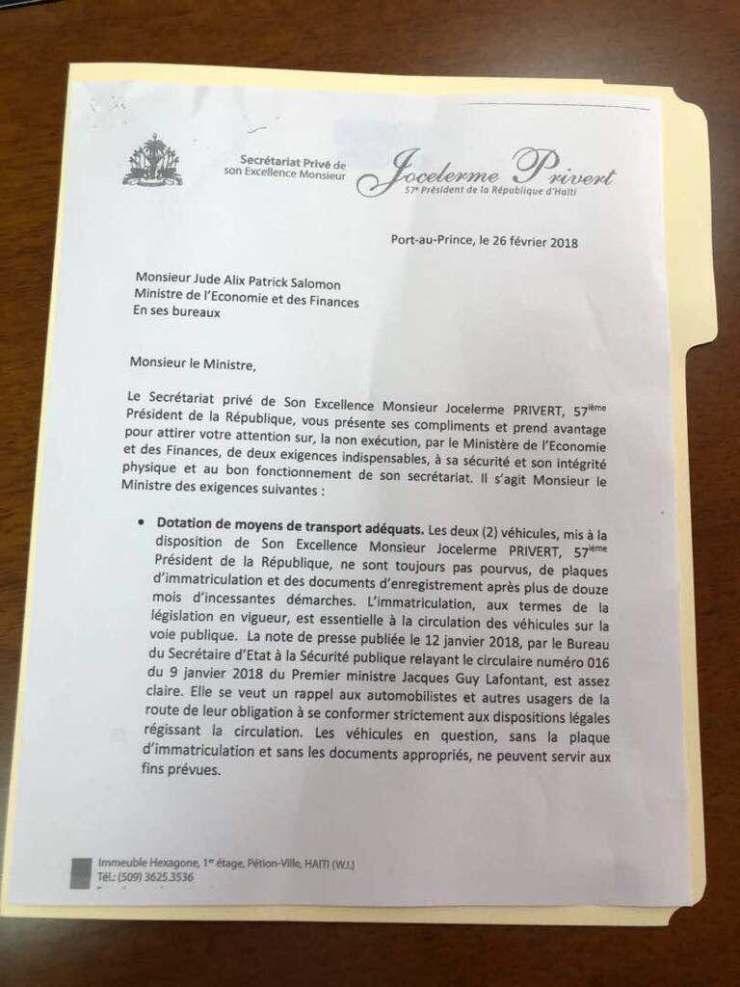 Frais de fonctionnement non-versés et véhicule non-enregistré : Jocelerme Privert exige des explications  du ministre de l'économie et des finances. 35