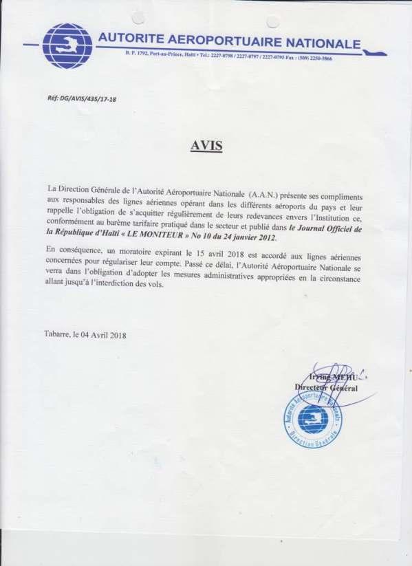 L'Autorité Aéroportuaire Nationale menace d'interdire les vols des lignes aériennes qui ne sont pas en règle avec l'institution 30