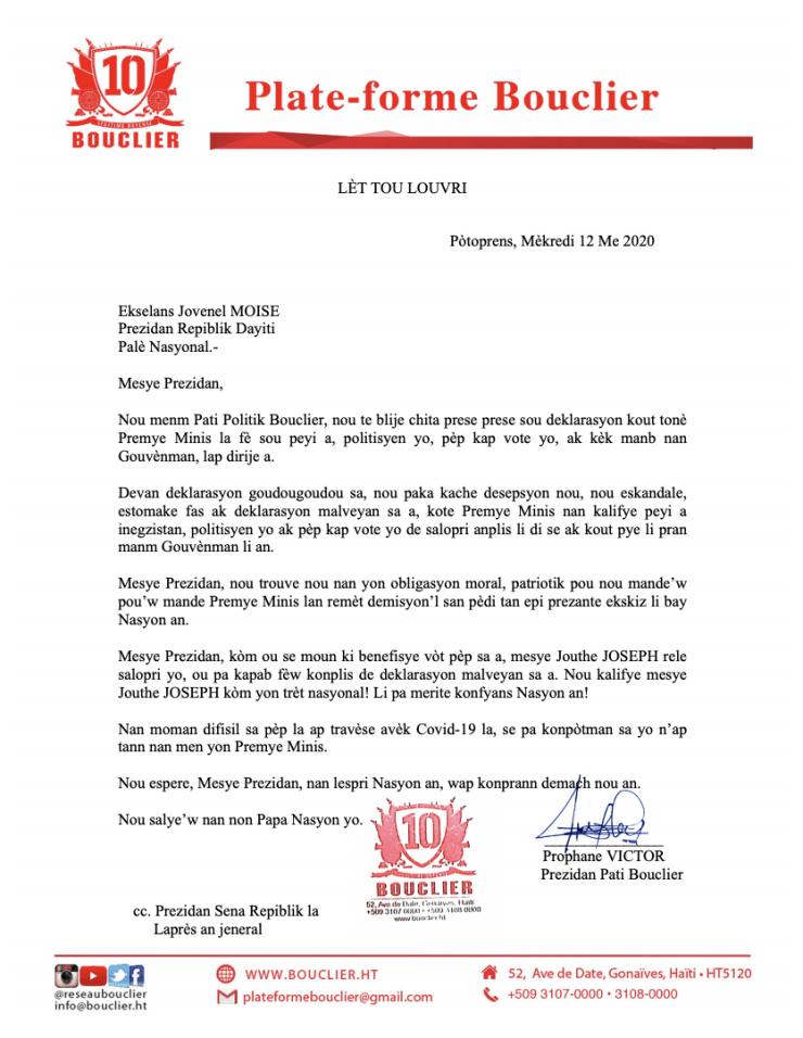 La Plateforme Bouclier exige le renvoi immédiat du Premier ministre Joseph Jouthe