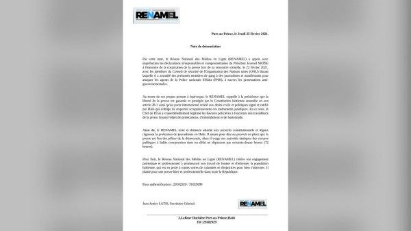 Le RENAMEL accorde 72 heures à Jovenel Moïse pour s'excuser auprès de la Presse