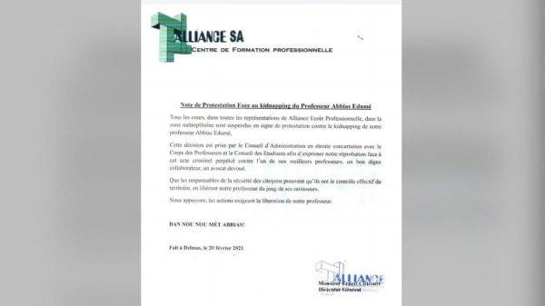 Kidnapping du professeur Abdias Edumé: Alliance suspend ses cours