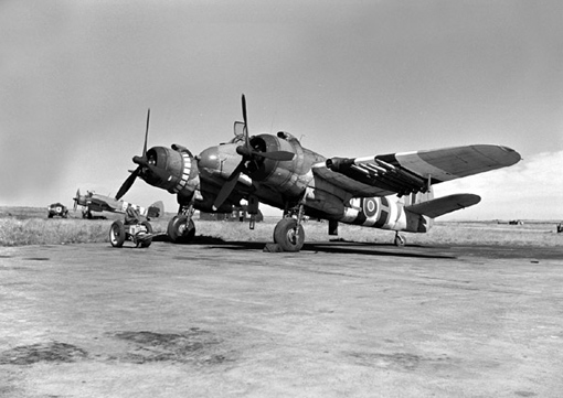 A Bristol Beaufighter of No 404 Squadron in June 1944, still bearing the distinctive markings of Allied planes on D-Day.