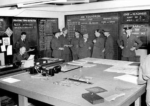 The Operations Room of RCAF No 405 Squadron, in 1941.