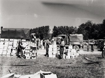 Service point for rations, Normandy, 7 August 1944.