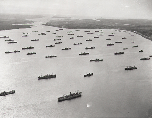 Convoy in Bedford Basin, Halifax, April 1,1942.
