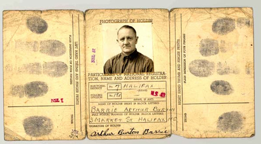 Identification certificate of seaman Arthur B. Barrie of the Merchant Navy of Canada.