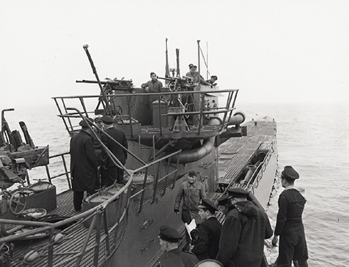 U-889 surrendering to the Royal Canadian Navy off Shelburne, Nova Scotia, in May 1945.
