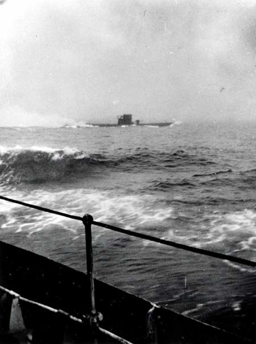 German U-boat U-210 seen from HMCS Assiniboine, 6 August 1942.
