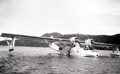 Consolidated Canso flying boats were flown by RCAF crews patrolling the Atlantic and the St. Lawrence coasts. Canso 9798 of 160 (BR) Squadron, RCAF, is shown during mercy flight in Newfoundland, 13 October 1944.