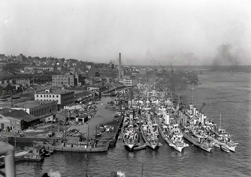 Royal Navy and RCN destroyers and corvettes alongside Jetty No. 4, HMC Dockyard, Halifax, 16 October 1942.