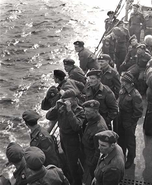 Repatriation of Canadian troops - scene on the aft deck as the tender left the pier, Greenock, Scotland, June 1945.