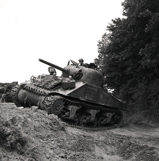 Sherman tank of the 1st Hussars in Normandy, 28 June 1944.