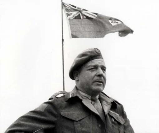 Major-General R.F.L. Keller addressing Canadian troops in Normandy, August 2nd, 1944.