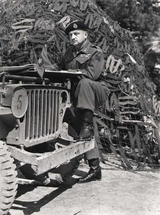 Lieutenant-General E.L.M. Burns at I Canadian Corps HQ in Larino, Italy, March 18th, 1944