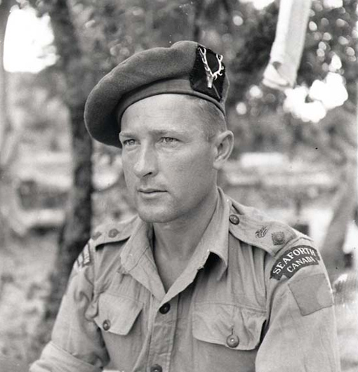 Lieutenant-Colonel B.M. Hoffmeister, commanding officer of the Seaforth Highlanders of Canada, Sicily, August 1943