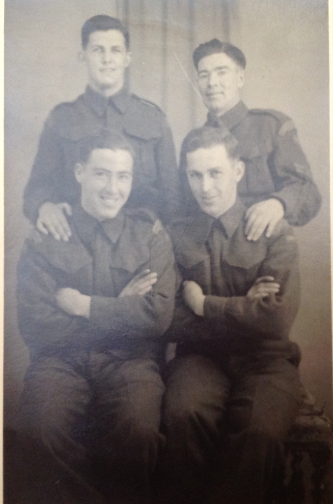 4 soldiers Back row Harold Daley, brother Bud Daley,  Front: Alden and Burton.