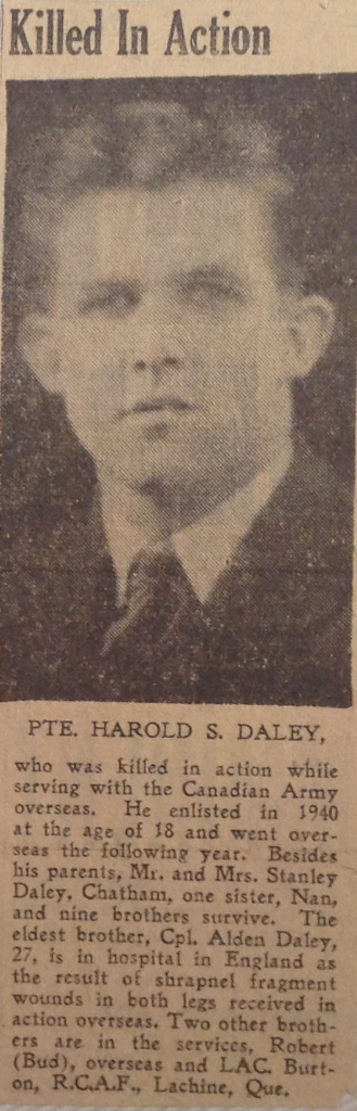 Article announcing Harold's death along with photo