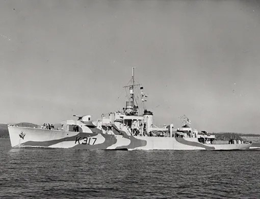 Frigate HMCS Chebogue on 17 March 1944, shortly after commissioning at Esquimalt, British Columbia. Chebogue was assigned to Escort Group C-1 in June 1944, after working up in Bermuda.
