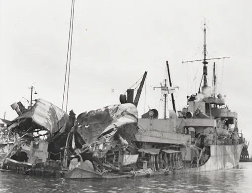 HMCS Chebogue was torpedoed by U-1227 on 4 October 1944 while on escort duty to convoy ONS-33. She was towed to harbour in Wales, yet her short career is over.