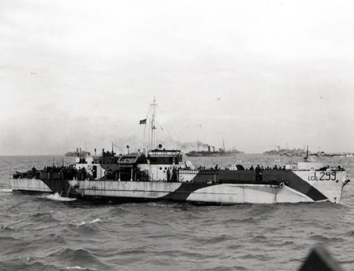 LCI(L) 299 of the 2nd Canadian Flotilla carrying personnel of the 9th Canadian Infantry Brigade to the Normandy beaches on D-Day.