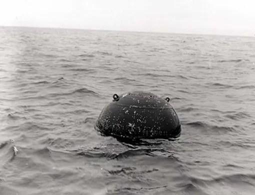 German contact mine in waters off Nova Scotia, 2 June 1943.