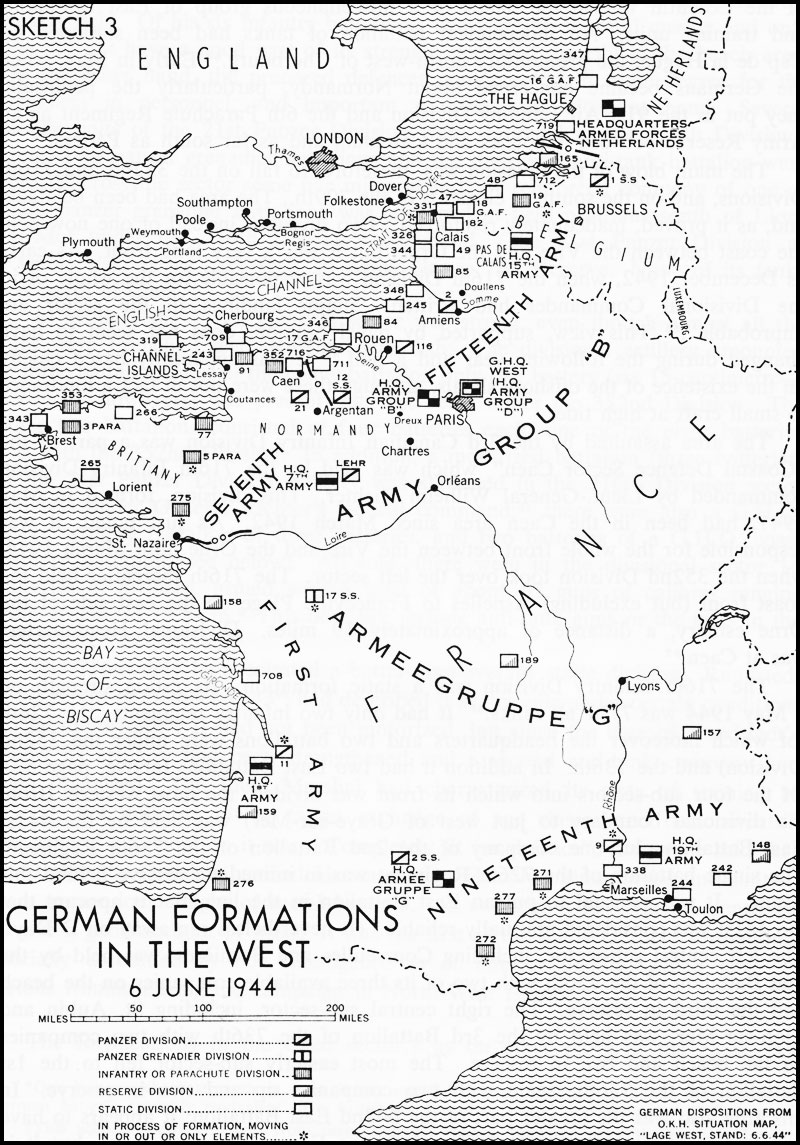 Black and white map. German Formations in the West (6 June 1944)