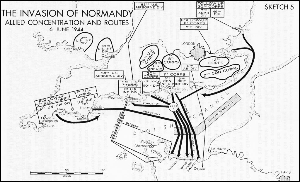 Black and white map. The Invasion of Normandy - Allied Concentration and Routes (6 June 1944)