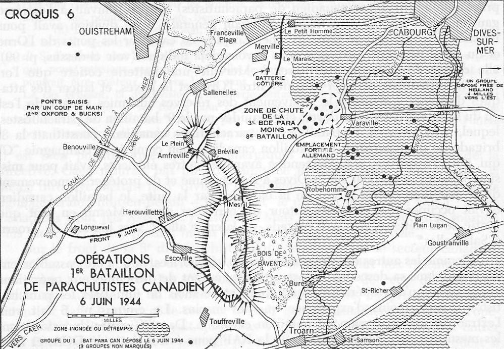 Une carte en noir et blanc. Opérations 1er Bataillon de Parachutistes Canadien - 6 juin 1944