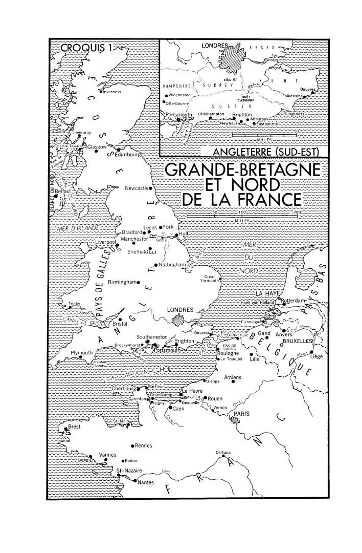 Une carte en noir et blanc. Grande-Bretagne et Nord de la France