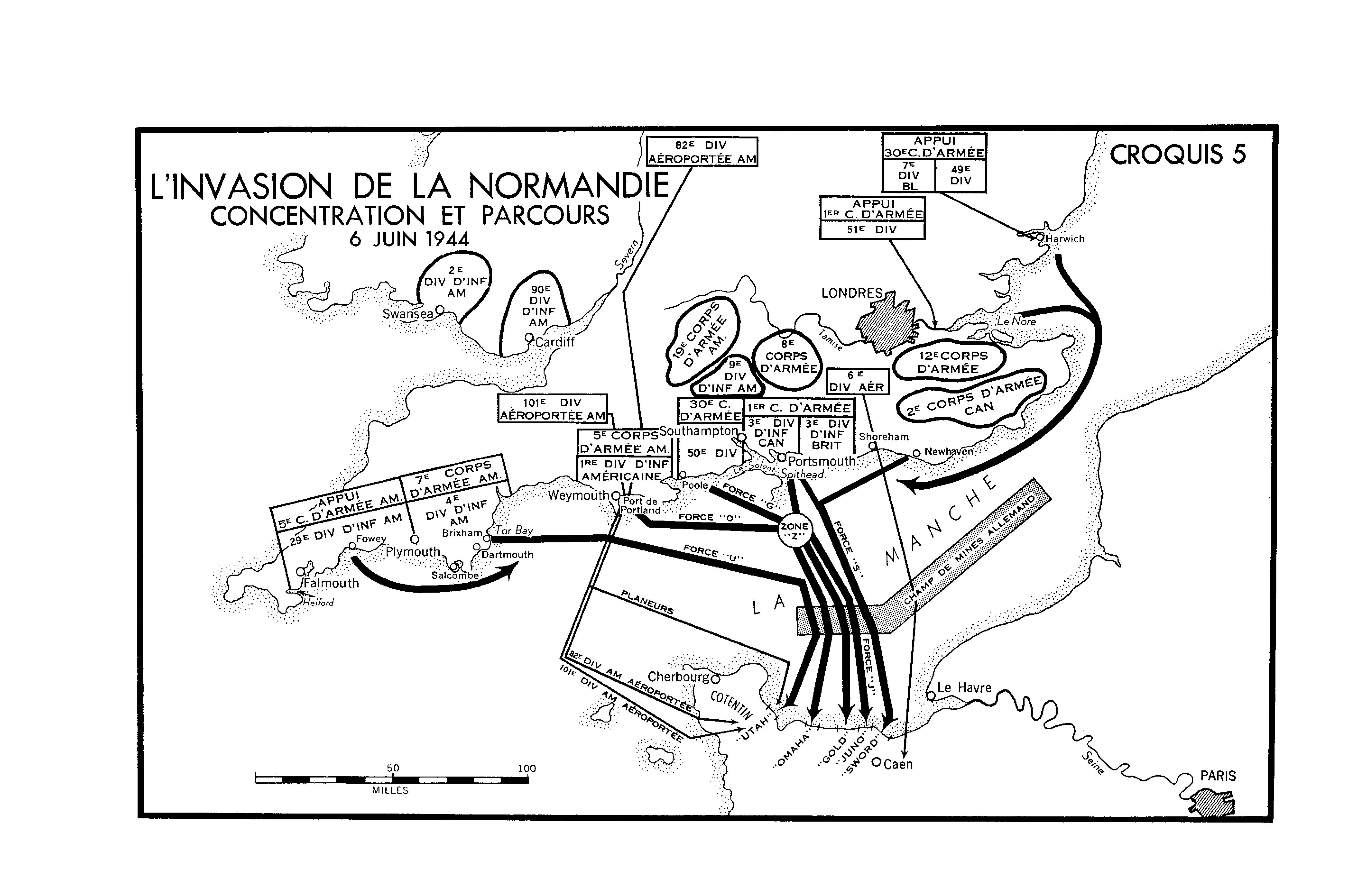 Une carte en blanc et noir. L'Invasion de la Normandie - Concentration et Parcours (6 juin 1944)