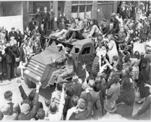 Dutch citizens celebrate the liberation of Rotterdam.
