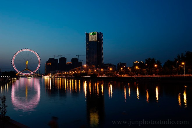 night view the eye of TianJin city