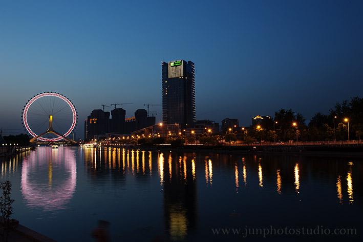 night view the eye of TianJin city