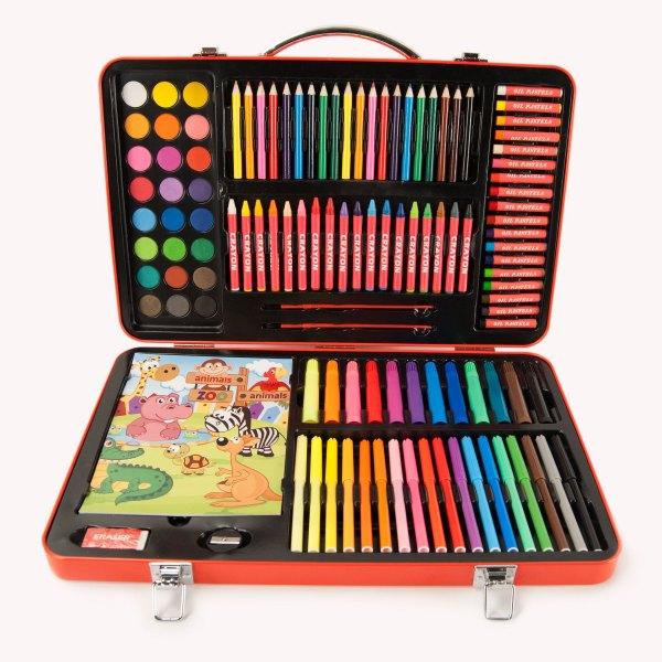 125pc Kids Colorful Aluminum Art Case