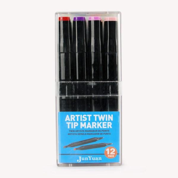 12pc Acrylic Case Twin Tip Black Barrel Marker Art Set