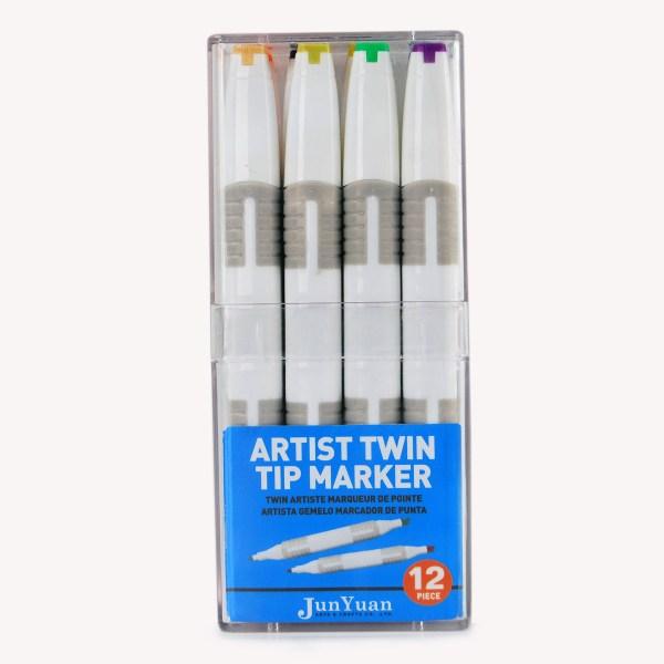 12pc Acrylic Twin Tip Grip Marker Art Set