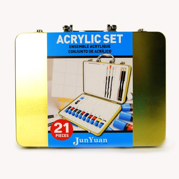 21pc Tin Acrylic Art Set