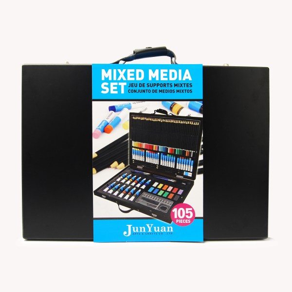 105pc Painted Wooden Box Mixed Media Art Set