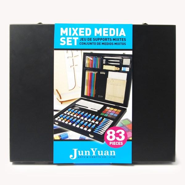 83pc Painted Wooden Box Mixed Media Art Set