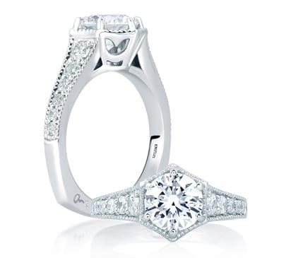 18kt White Gold .47ctw Diamond Deco Euro Shank Engagement Ring