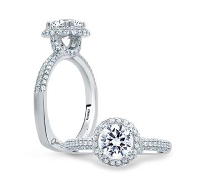 14kt Pave Set .52ctw Diamond Round Cut Halo Engagement Ring