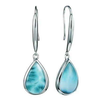 sterling silver tear drop shape larimar gemstone dangle earrings