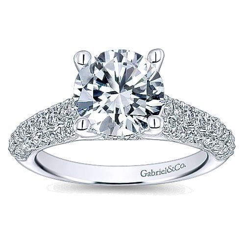 14kt pave set diamond engagement ring